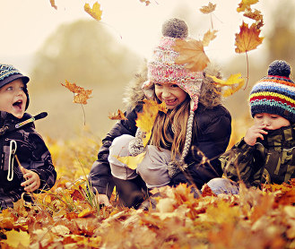 children happy autumn